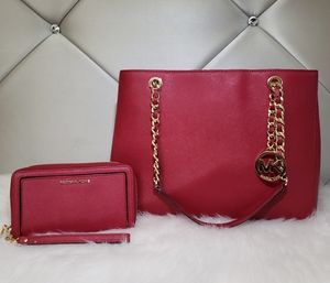 Michael Kors Cherry Red Susannah Bag With Wallet